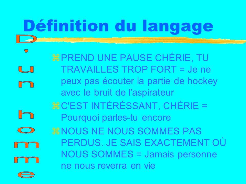 Définition du langage zPREND UNE PAUSE CHÉRIE, TU TRAVAILLES TROP FORT = Je ne peux pas écouter la partie de hockey avec le bruit de l aspirateur zC EST INTÉRÉSSANT, CHÉRIE = Pourquoi parles-tu encore zNOUS NE NOUS SOMMES PAS PERDUS.