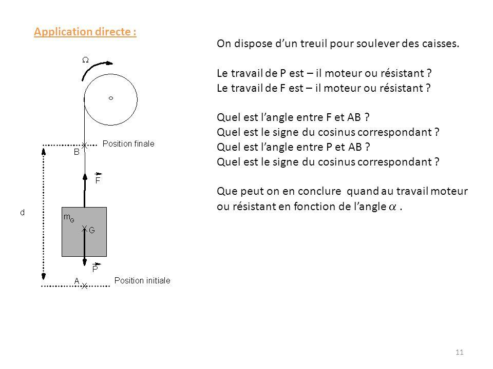 Application directe : On dispose dun treuil pour soulever des caisses. Le travail de P est – il moteur ou résistant ? Le travail de F est – il moteur