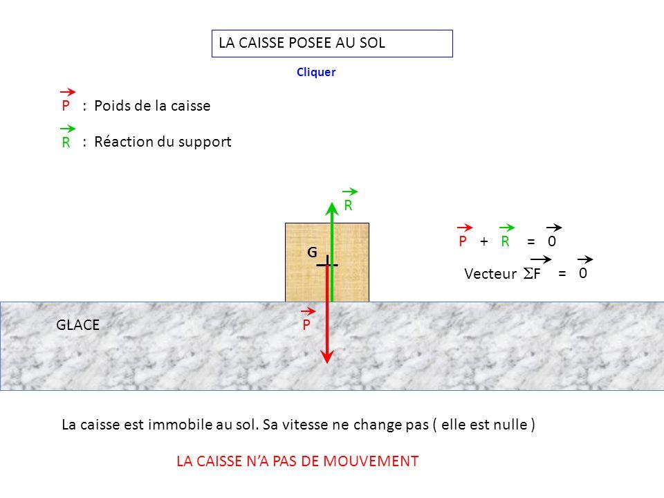 LA CAISSE POSEE AU SOL G P R PR+=0 P: Poids de la caisse R : Réaction du support La caisse est immobile au sol.