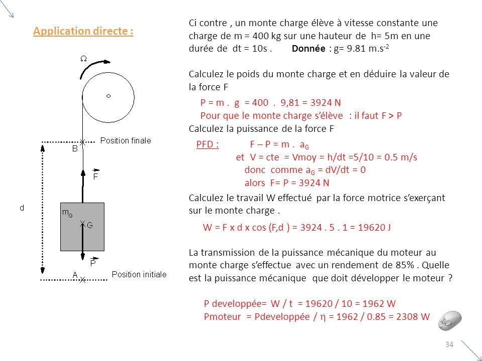 Application directe : Ci contre, un monte charge élève à vitesse constante une charge de m = 400 kg sur une hauteur de h= 5m en une durée de dt = 10s.