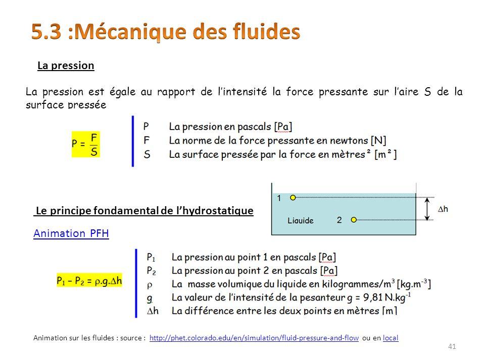 La pression est égale au rapport de lintensité la force pressante sur laire S de la surface pressée Le principe fondamental de lhydrostatique La pression 41 Animation sur les fluides : source : http://phet.colorado.edu/en/simulation/fluid-pressure-and-flow ou en localhttp://phet.colorado.edu/en/simulation/fluid-pressure-and-flowlocal Animation PFH