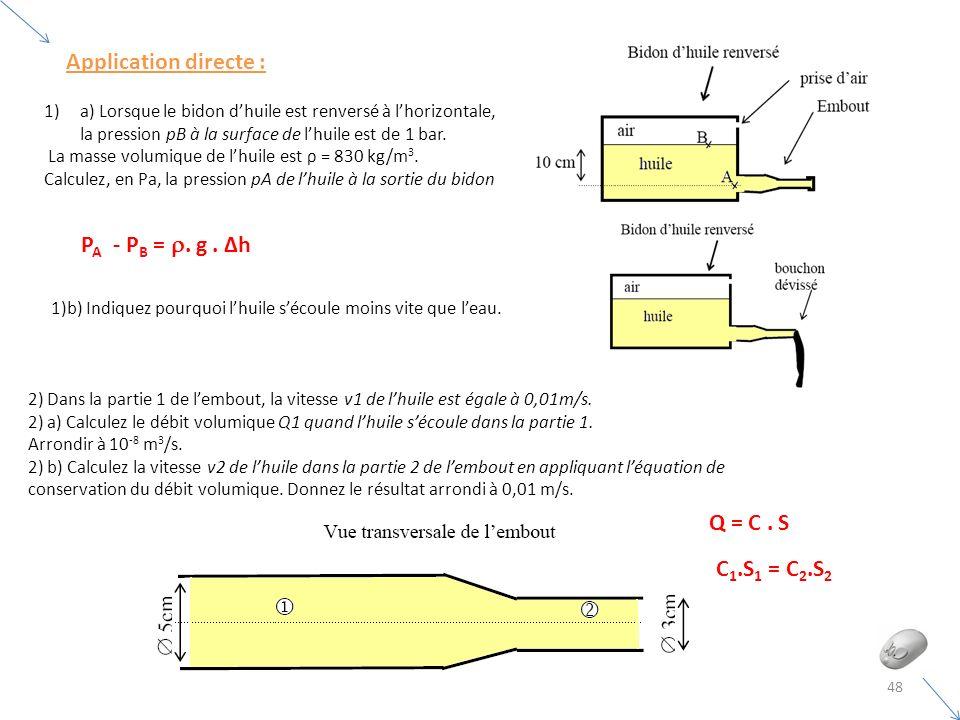 1)a) Lorsque le bidon dhuile est renversé à lhorizontale, la pression pB à la surface de lhuile est de 1 bar. La masse volumique de lhuile est ρ = 830