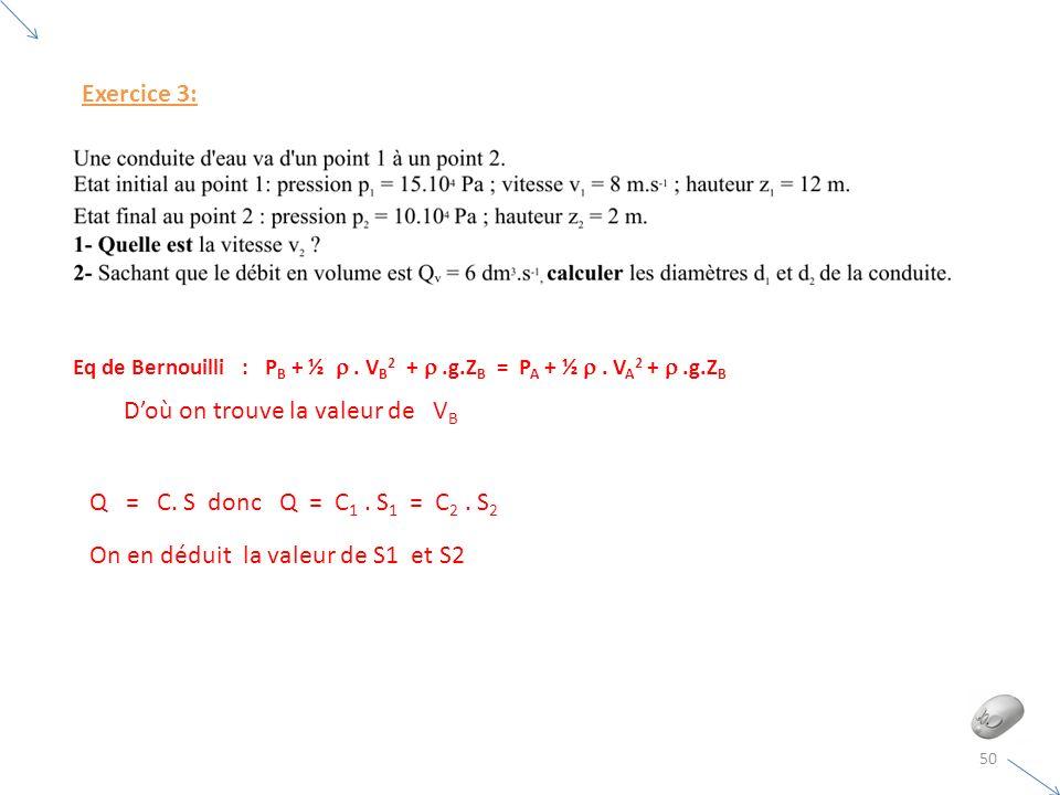50 Exercice 3: Eq de Bernouilli : P B + ½. V B 2 +.g.Z B = P A + ½. V A 2 +.g.Z B Doù on trouve la valeur de V B Q = C. S donc Q = C 1. S 1 = C 2. S 2