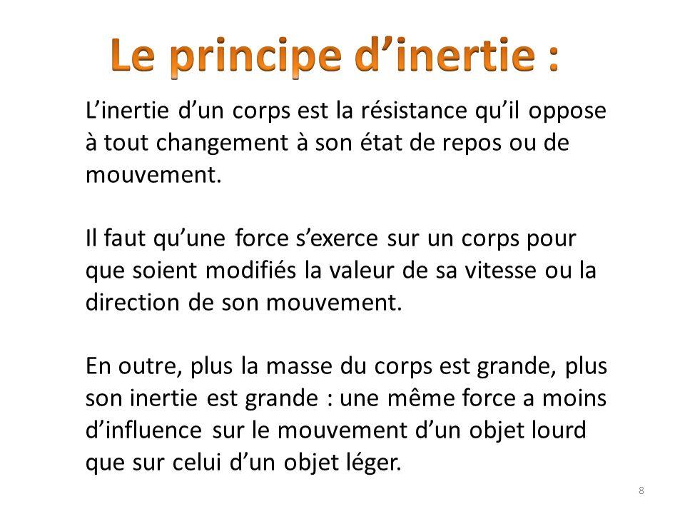 Linertie dun corps est la résistance quil oppose à tout changement à son état de repos ou de mouvement.