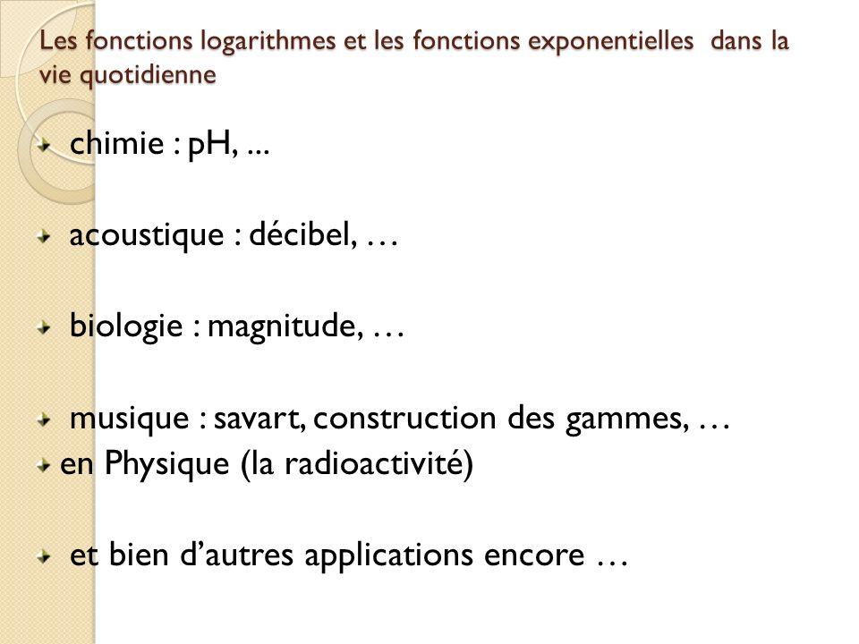 Les fonctions logarithmes et les fonctions exponentielles dans la vie quotidienne chimie : pH,... acoustique : décibel, … biologie : magnitude, … musi