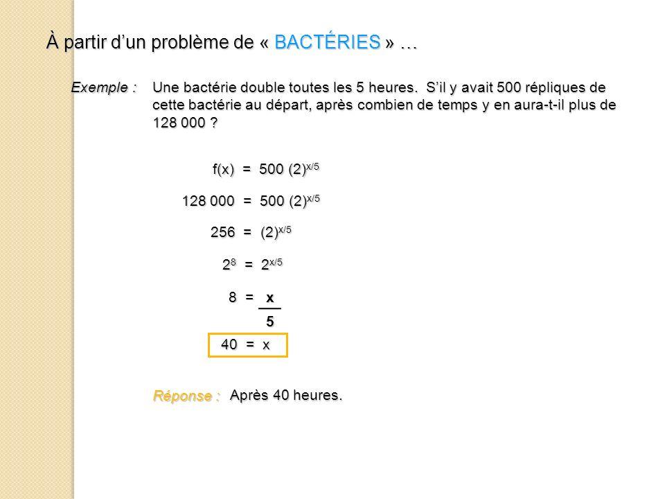 À partir dun problème de « BACTÉRIES » … À partir dun problème de « BACTÉRIES » … Exemple : Une bactérie double toutes les 5 heures. Sil y avait 500 r