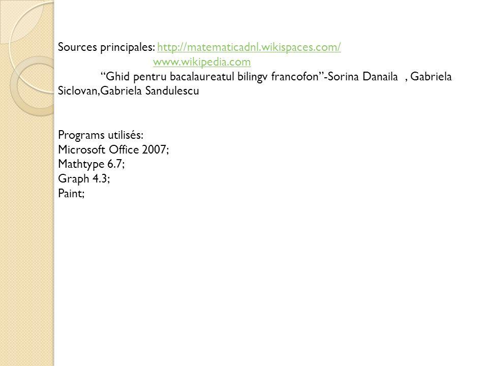 Sources principales: http://matematicadnl.wikispaces.com/http://matematicadnl.wikispaces.com/ www.wikipedia.com Ghid pentru bacalaureatul bilingv fran