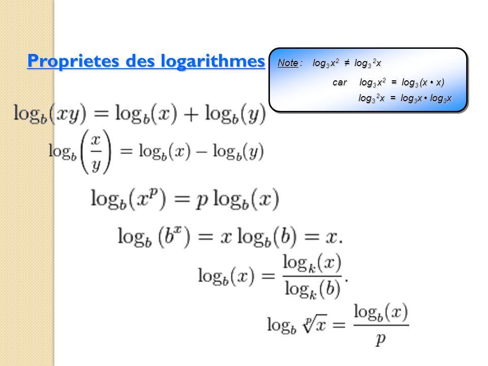 Proprietes des logarithmes Note : log 3 x 2 log 3 2 x log 3 x 2 = log 3 (x x) log 3 2 x = log 3 x log 3 x car