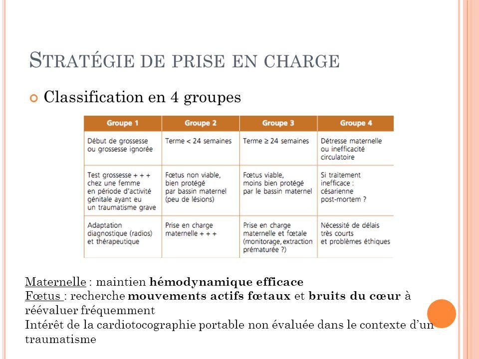 S TRATÉGIE DE PRISE EN CHARGE Classification en 4 groupes Maternelle : maintien hémodynamique efficace Fœtus : recherche mouvements actifs fœtaux et b