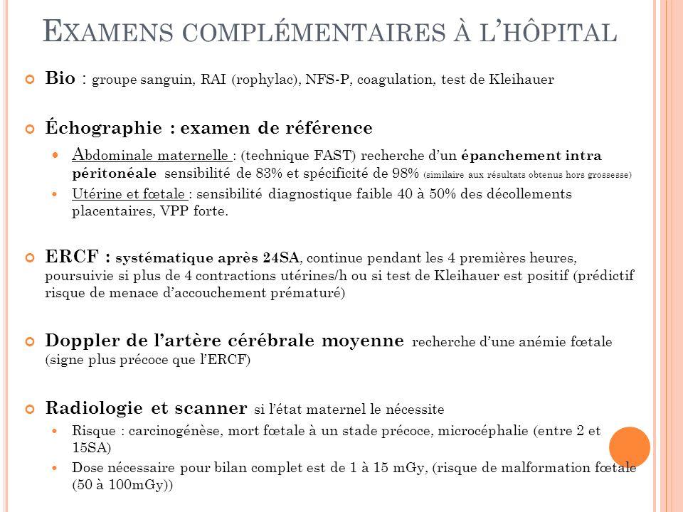 E XAMENS COMPLÉMENTAIRES À L HÔPITAL Bio : groupe sanguin, RAI (rophylac), NFS-P, coagulation, test de Kleihauer Échographie : examen de référence A b