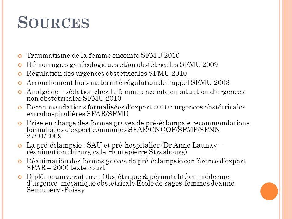 S OURCES Traumatisme de la femme enceinte SFMU 2010 Hémorragies gynécologiques et/ou obstétricales SFMU 2009 Régulation des urgences obstétricales SFM