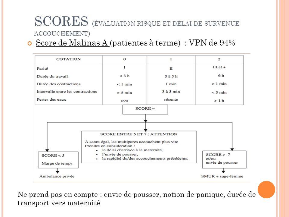 SCORES ( ÉVALUATION RISQUE ET DÉLAI DE SURVENUE ACCOUCHEMENT ) Score de Malinas A (patientes à terme) : VPN de 94% Ne prend pas en compte : envie de p