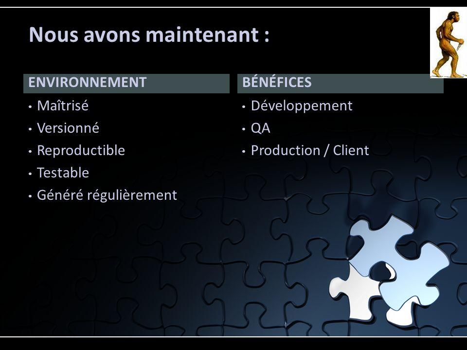 ENVIRONNEMENT Maîtrisé Versionné Reproductible Testable Généré régulièrement Développement QA Production / Client BÉNÉFICES Nous avons maintenant :