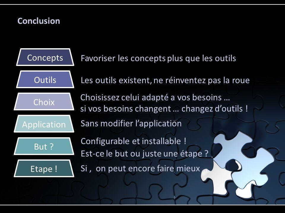 Conclusion Favoriser les concepts plus que les outils Les outils existent, ne réinventez pas la roue Sans modifier lapplication Configurable et instal