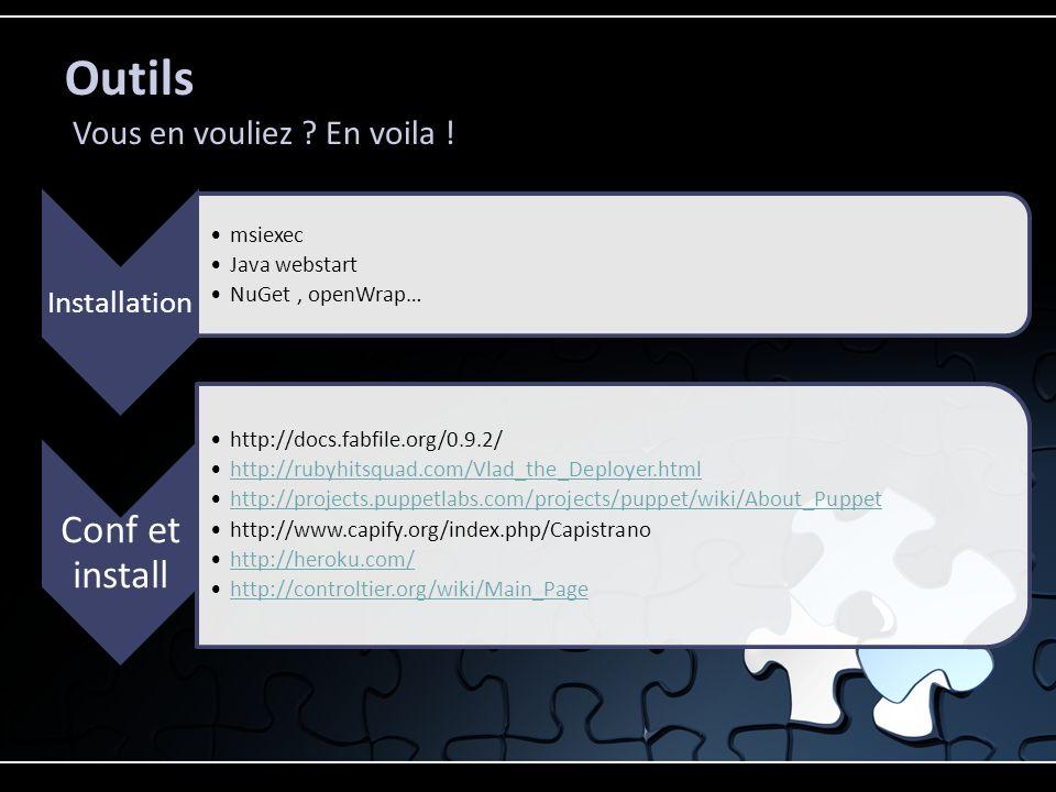 Outils Vous en vouliez ? En voila ! Installation msiexec Java webstart NuGet, openWrap… Conf et install http://docs.fabfile.org/0.9.2/ http://rubyhits