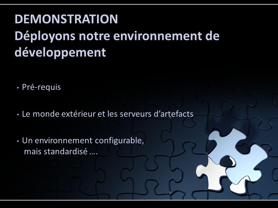 Pré-requis Le monde extérieur et les serveurs dartefacts Un environnement configurable, mais standardisé …. DEMONSTRATION Déployons notre environnemen