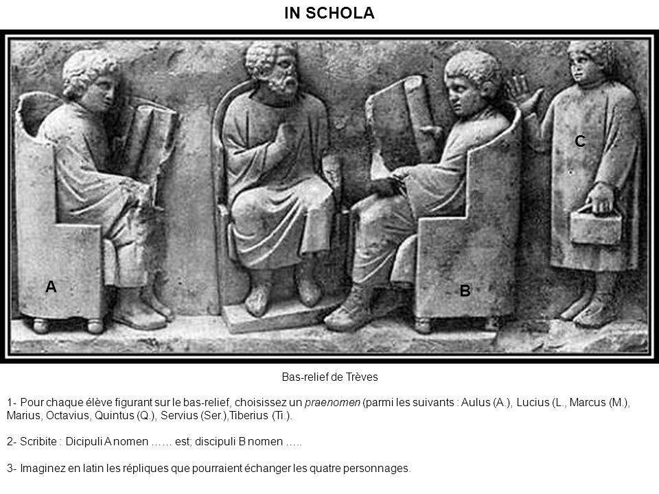 Bas-relief de Trèves 1- Pour chaque élève figurant sur le bas-relief, choisissez un praenomen (parmi les suivants : Aulus (A.), Lucius (L., Marcus (M.), Marius, Octavius, Quintus (Q.), Servius (Ser.),Tiberius (Ti.).