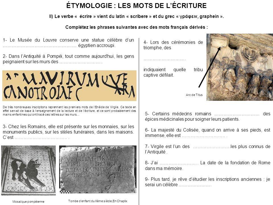 ÉTYMOLOGIE : LES MOTS DE LÉCRITURE II) Le verbe « écrire » vient du latin « scribere » et du grec « γράφειν, graphein ».