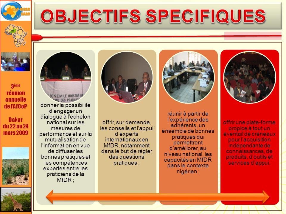 3 ème réunion annuelle de lAfCoP Dakar du 22 au 24 mars 2009 Mobilisation des praticiens nigériens et lancement de la communauté nationale 10/2008 Organisation de la 1 ère journée de la CoP-Niger 10/2008 Organisation des discussions thématiques 2008-09 Formation ciblée et accompagnement au bénéfice de ladministration et des projets 2008-09 Organisation de la première semaine de partage des bonnes pratiques (SNPBP 2010) 01/2010 70 adhérents à la communauté Plus de 40 institutions représentées 70 adhérents à la communauté Plus de 40 institutions représentées Large diffusion dinformation COP Inscription des adhérents site lAfCoP Formation en membership actif Large diffusion dinformation COP Inscription des adhérents site lAfCoP Formation en membership actif Renforcement de ladhésion Partage dinformations et connaissances Renforcement de ladhésion Partage dinformations et connaissances Plus de 500 personnes formées GRD 3 institutions accompagnement dans institutionnalisation & mise en œuvre Plus de 500 personnes formées GRD 3 institutions accompagnement dans institutionnalisation & mise en œuvre Plus de 300 participants Plus de 90 institutions et services Plus de 300 participants Plus de 90 institutions et services