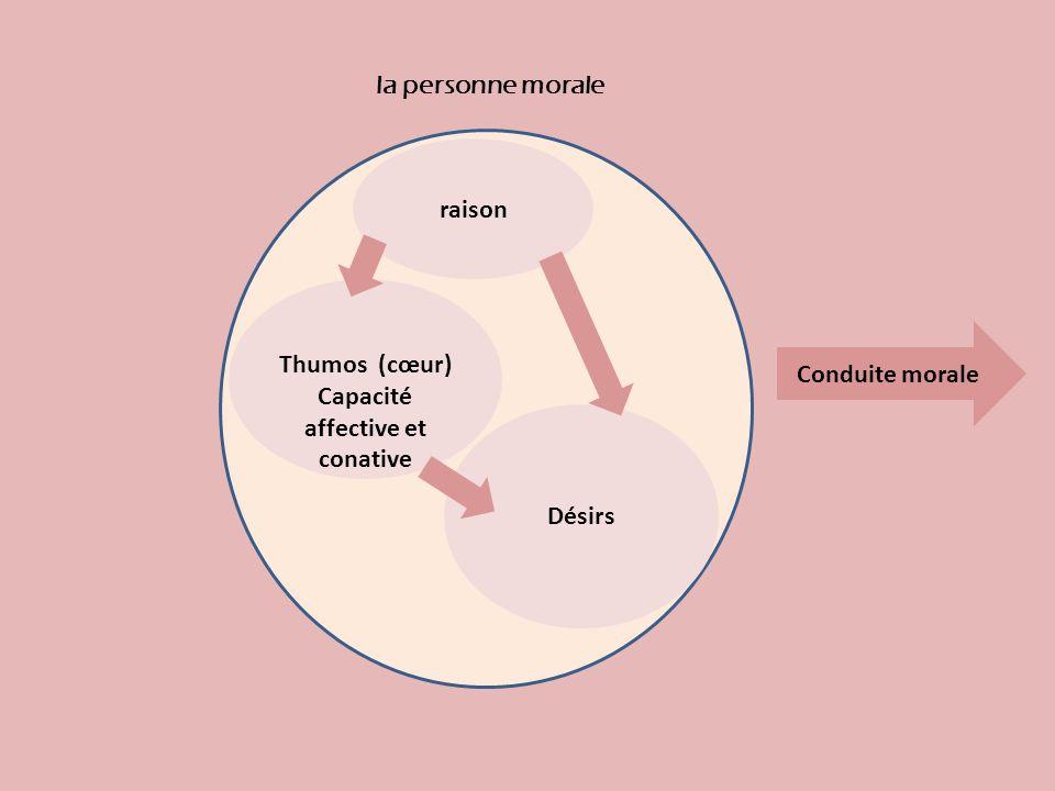 raison Désirs Thumos (cœur) Capacité affective et conative la personne morale Conduite morale