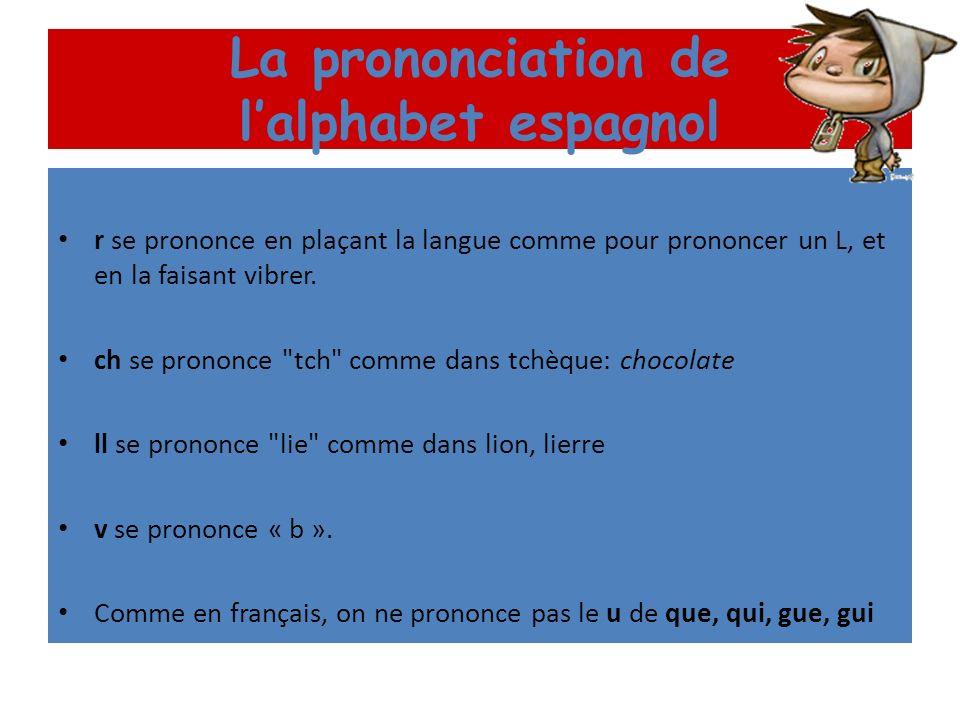 La prononciation de lalphabet espagnol Les consonnes j a un son guttural, obtenu en émettant un raclement au fond de la gorge, comme un