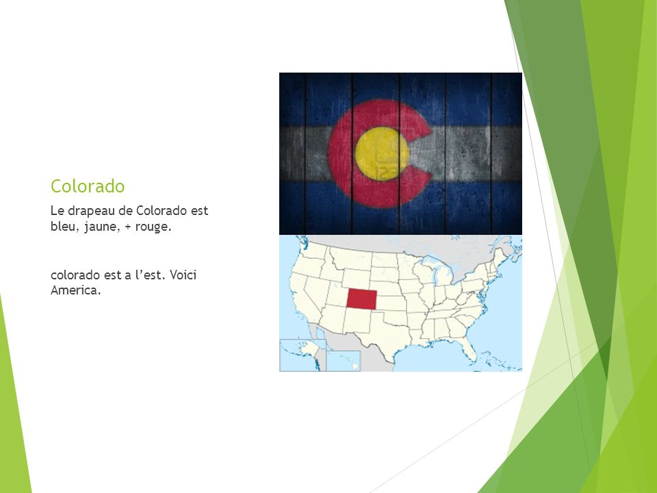 Colorado Le drapeau de Colorado est bleu, jaune, + rouge. colorado est a lest. Voici America.