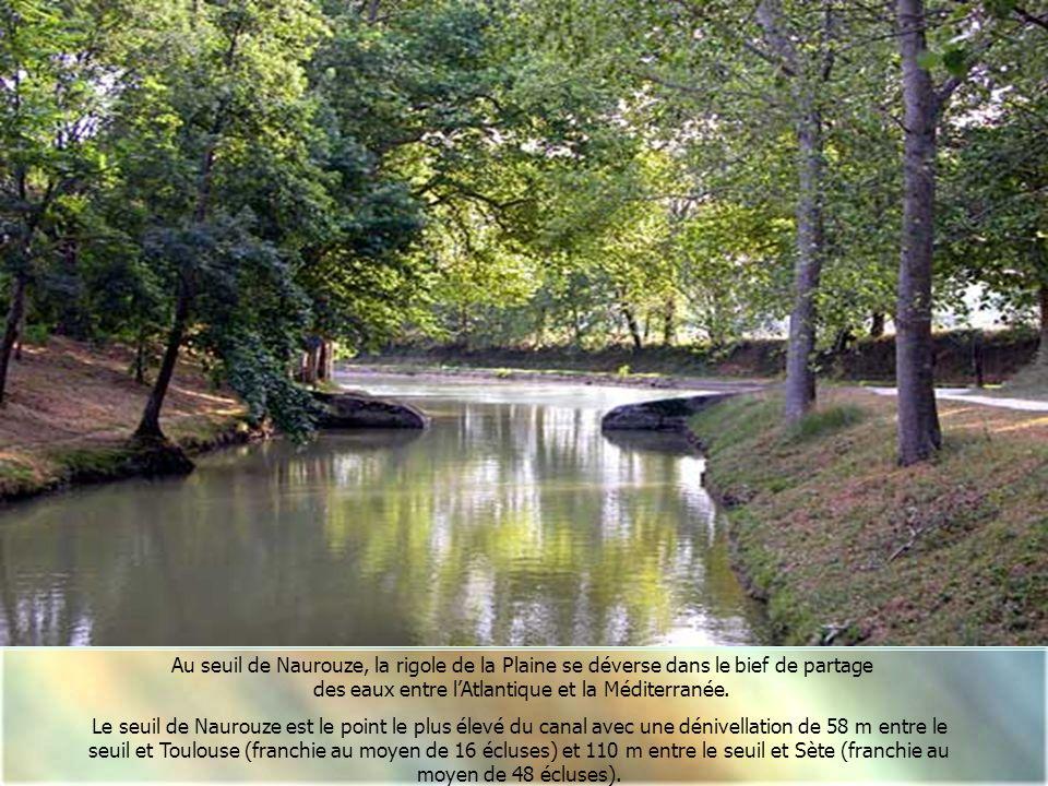 Arrivée de la rigole de la Plaine dans le bassin de Naurouze Source principale d'eau du Canal du Midi