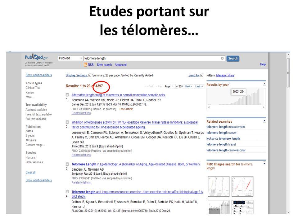 XXIII e Colloque de lATC (septembre 2013), Bordeaux, France Etudes portant sur les télomères…