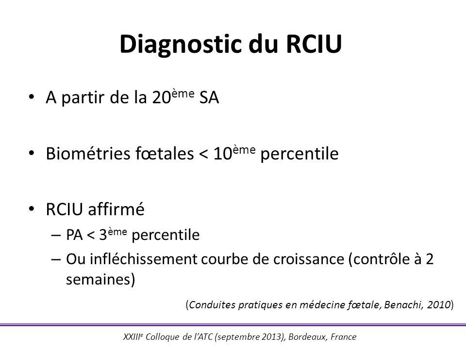 XXIII e Colloque de lATC (septembre 2013), Bordeaux, France Diagnostic du RCIU A partir de la 20 ème SA Biométries fœtales < 10 ème percentile RCIU af