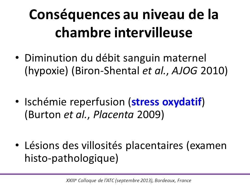XXIII e Colloque de lATC (septembre 2013), Bordeaux, France Conséquences au niveau de la chambre intervilleuse Diminution du débit sanguin maternel (h