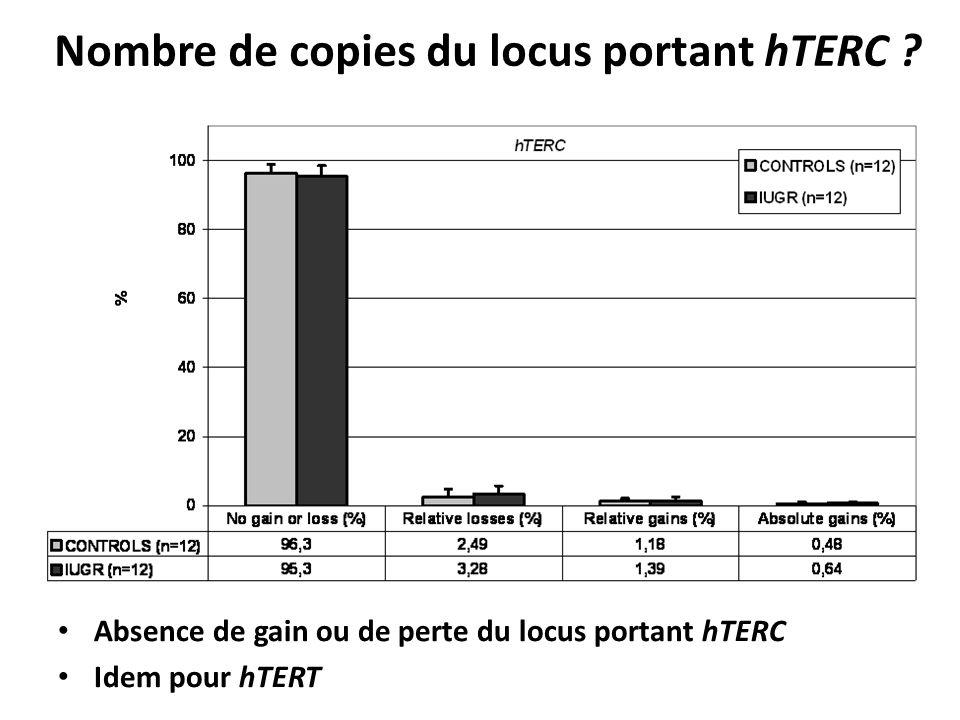XXIII e Colloque de lATC (septembre 2013), Bordeaux, France Absence de gain ou de perte du locus portant hTERC Idem pour hTERT Nombre de copies du loc