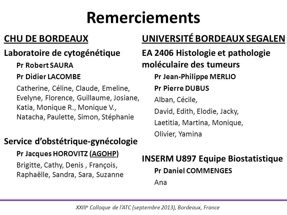 XXIII e Colloque de lATC (septembre 2013), Bordeaux, France Remerciements CHU DE BORDEAUX Laboratoire de cytogénétique Pr Robert SAURA Pr Didier LACOM
