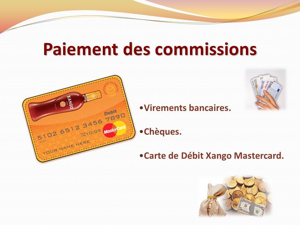 Paiement des commissions Virements bancaires. Chèques. Carte de Débit Xango Mastercard.