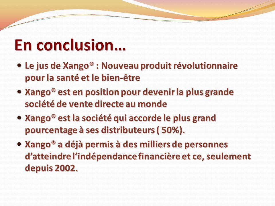 En conclusion… Le jus de Xango® : Nouveau produit révolutionnaire pour la santé et le bien-être Le jus de Xango® : Nouveau produit révolutionnaire pou