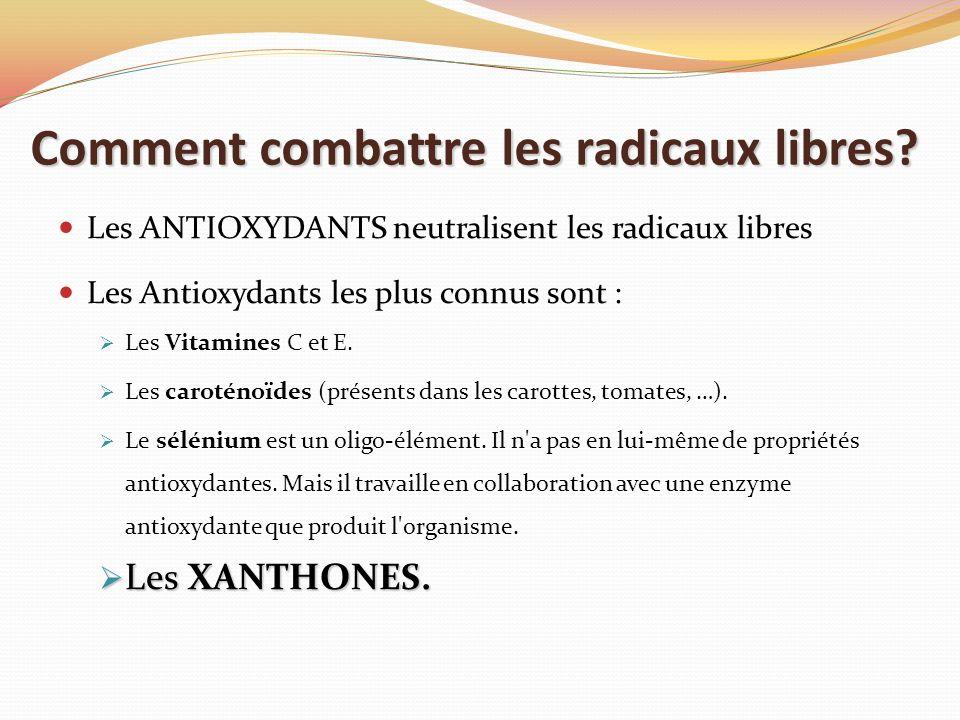 Comment combattre les radicaux libres? Les ANTIOXYDANTS neutralisent les radicaux libres Les Antioxydants les plus connus sont : Les Vitamines C et E.