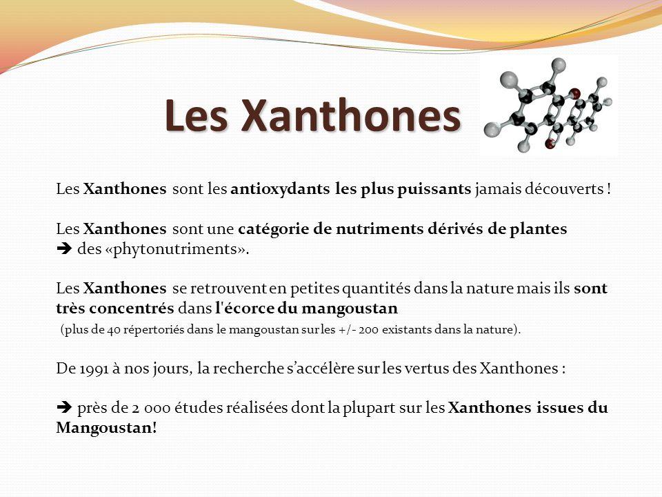 Les Xanthones Les Xanthones sont les antioxydants les plus puissants jamais découverts ! Les Xanthones sont une catégorie de nutriments dérivés de pla