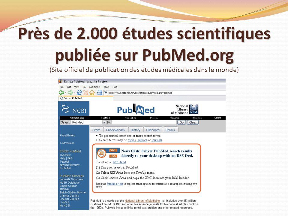 Près de 2.000 études scientifiques publiée sur PubMed.org Près de 2.000 études scientifiques publiée sur PubMed.org (Site officiel de publication des