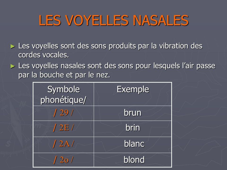 LES VOYELLES NASALES Les voyelles sont des sons produits par la vibration des cordes vocales.