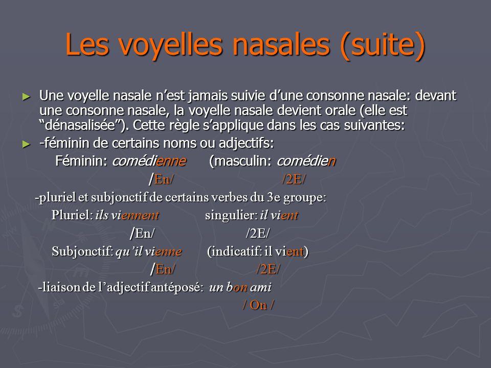 Les voyelles nasales (suite) Une voyelle nasale nest jamais suivie dune consonne nasale: devant une consonne nasale, la voyelle nasale devient orale (elle est dénasalisée).