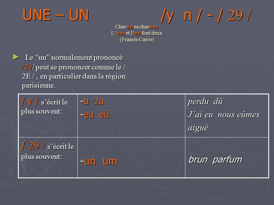 UNE – UN /y n / - / 29 / Chacun sa chacune Lune et lun font deux (Francis Carco) Le un normalement prononcé / 29/ peut se prononcer comme le / 2E /, en particulier dans la région parisienne.