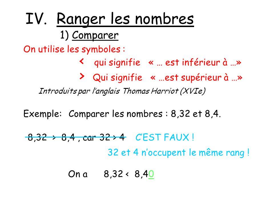 IV. Ranger les nombres 1) Comparer On utilise les symboles : < qui signifie « … est inférieur à …» > Qui signifie « …est supérieur à …» Introduits par