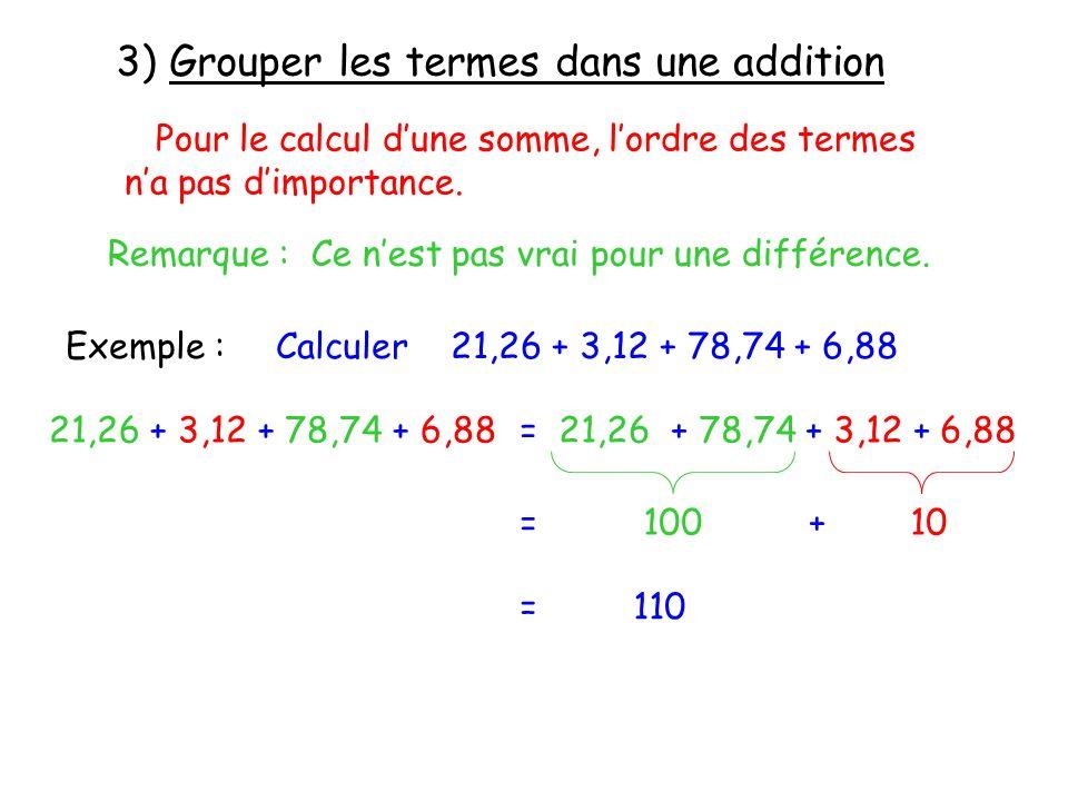 Pour le calcul dune somme, lordre des termes na pas dimportance. Remarque : Ce nest pas vrai pour une différence. Exemple :Calculer 21,26 + 3,12 + 78,