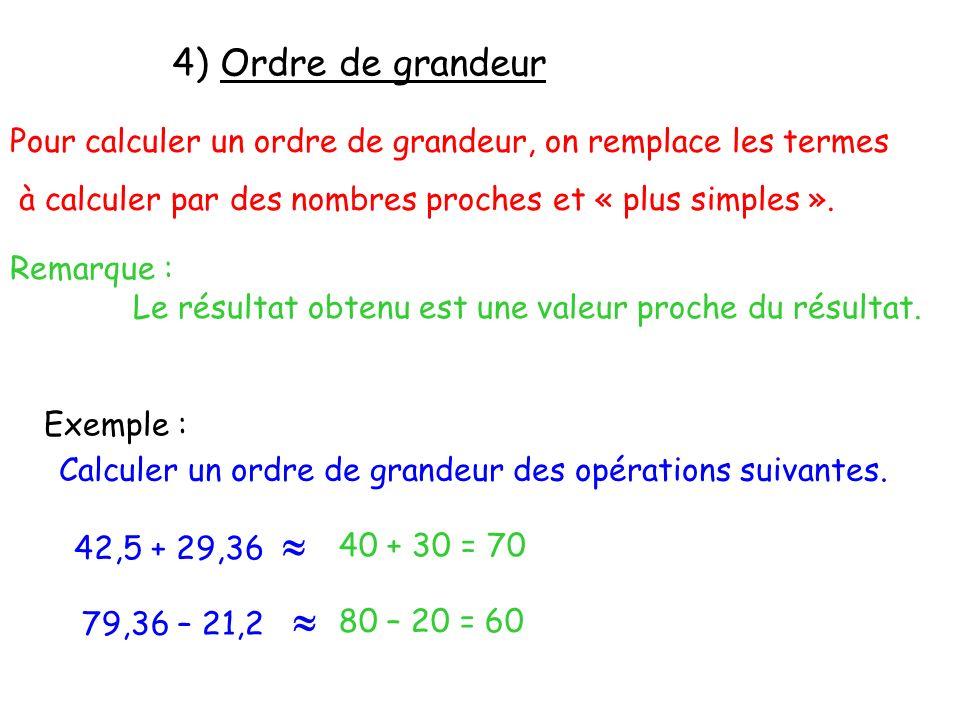 Pour calculer un ordre de grandeur, on remplace les termes à calculer par des nombres proches et « plus simples ». Remarque : Le résultat obtenu est u