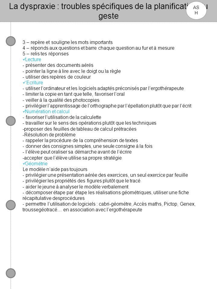La dyspraxie : troubles spécifiques de la planification du geste AS H 3 – repère et souligne les mots importants 4 – réponds aux questions et barre ch