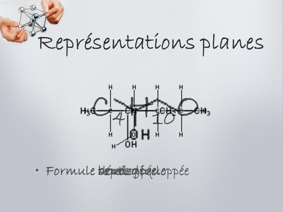 Représentations planes Formule bruteFormule développéeFormule semi-développéeFormule topologique C 4 H 10 O