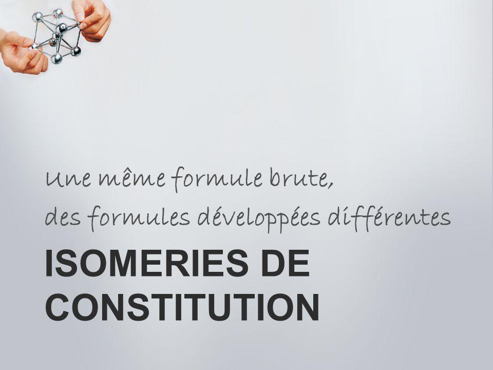 ISOMERIES DE CONSTITUTION Une même formule brute, des formules développées différentes