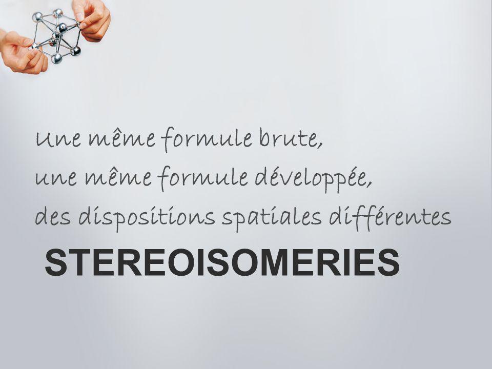 STEREOISOMERIES Une même formule brute, une même formule développée, des dispositions spatiales différentes