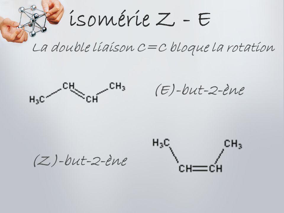 isomérie Z - E (E)-but-2-ène (Z)-but-2-ène La double liaison C=C bloque la rotation