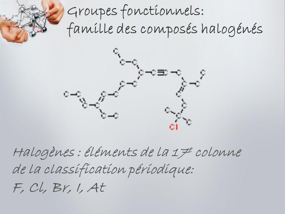 Groupes fonctionnels: famille des composés halogénés Halogènes : éléments de la 17 e colonne de la classification périodique: F, Cl, Br, I, At