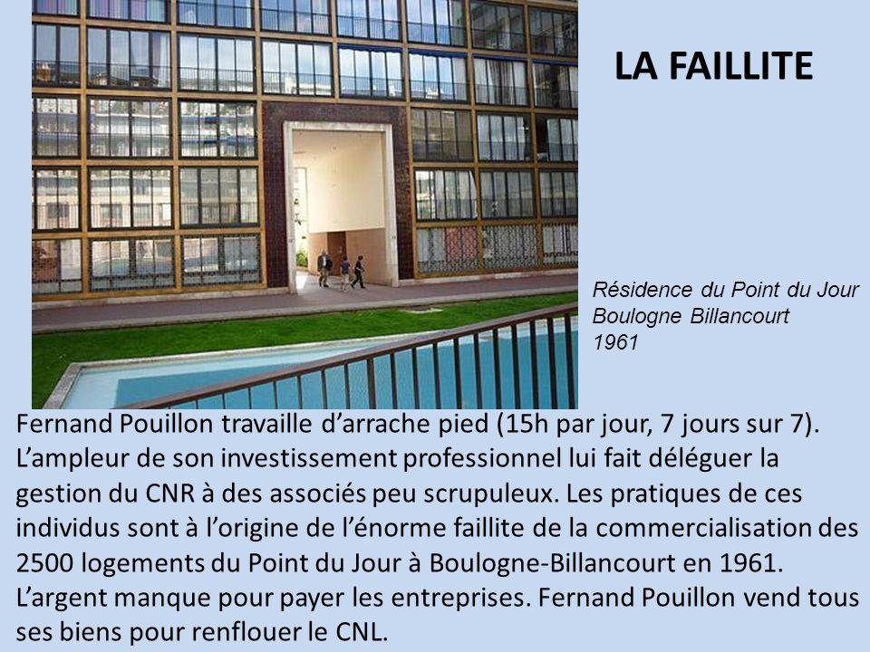 Fernand Pouillon travaille darrache pied (15h par jour, 7 jours sur 7). Lampleur de son investissement professionnel lui fait déléguer la gestion du C